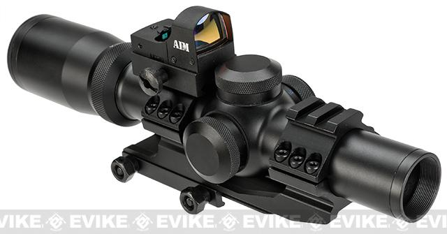 AIM Sports 1-4x24 Illuminated Tactical Scope (Red / Green / Blue) w/ Micro Dot Kit & Scope Mount