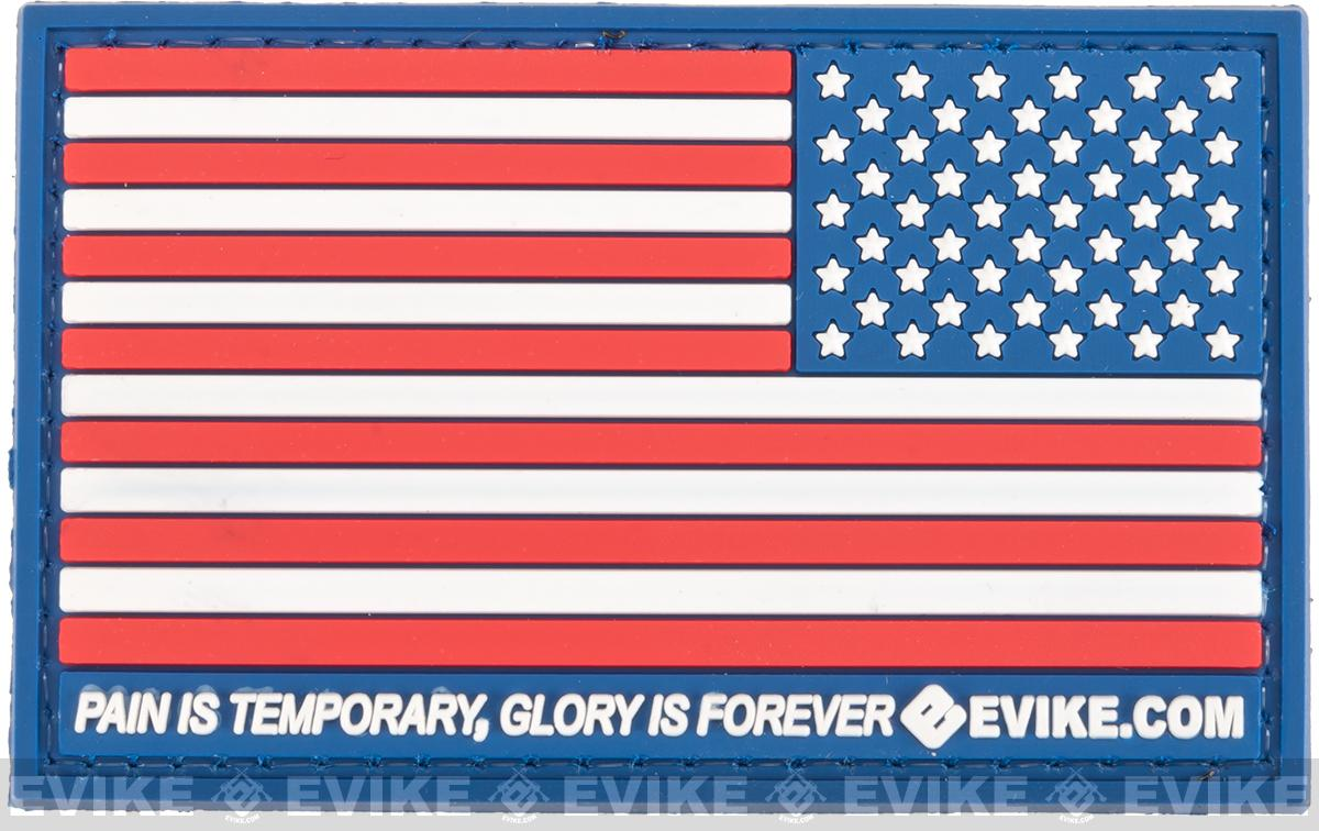Evike.com US Flag PVC Hook and Loop Patch - Full Color (Reverse)