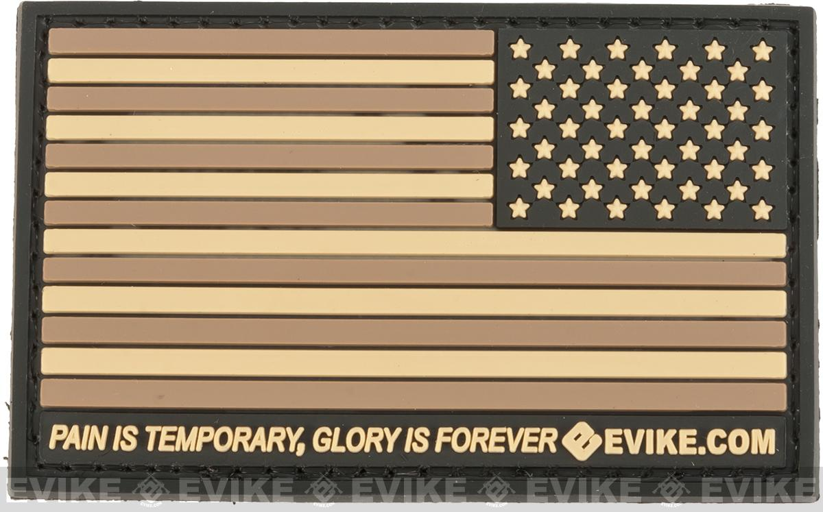 Evike.com US Flag PVC Hook and Loop Patch - Tan (Reverse)
