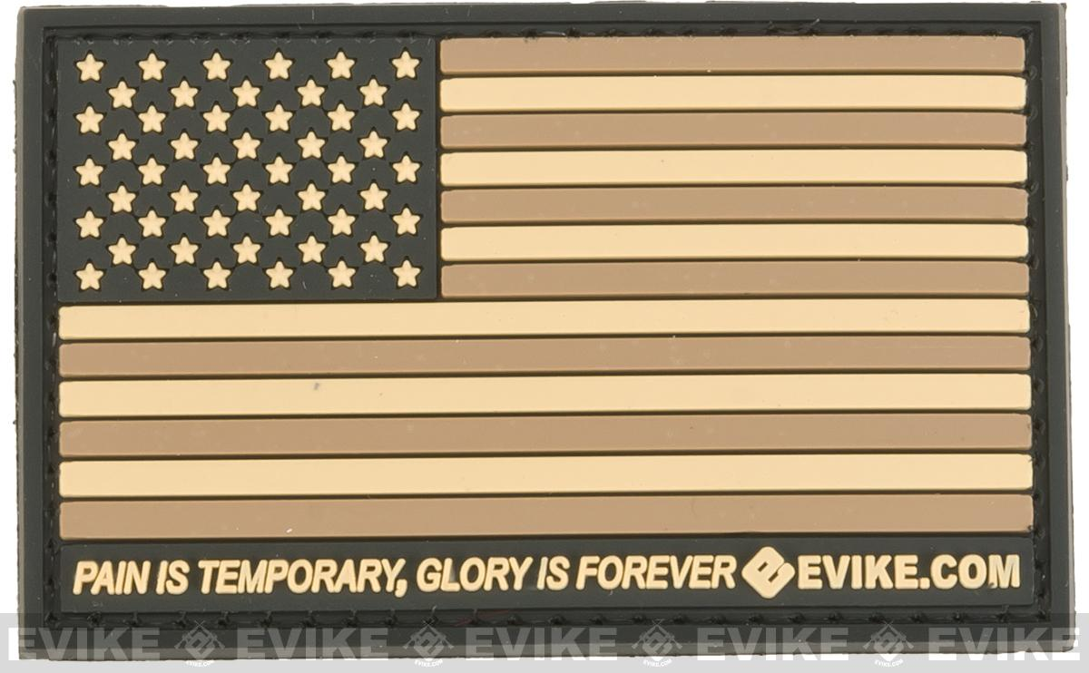 Evike.com US Flag PVC Hook and Loop Patch - Tan (Regular)