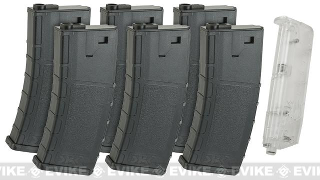 SRC SR4 M70 Round Auto Electric Rifle Magazine Set with Speed Loader - Black (Set of 6)