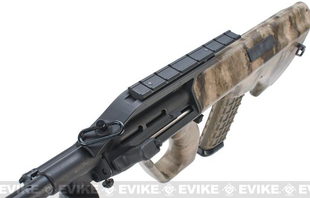 z Evike.com Custom AUG Alpha-1 Airsoft AEG Rifle w/ Fluted Outer Barrel - Black