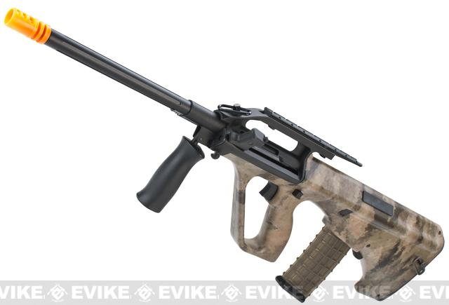 Bone Yard - Evike.com A-TACS Water-Transfer Custom AUG Alpha-1 Airsoft AEG Rifle w/ Fluted Outer Barrel (Store Display, Non-Working Or Refurbished Models)