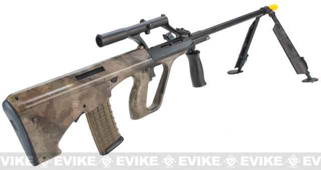 z Evike.com Custom AUG Alpha-H Sniper Airsoft AEG Rifle w/ Integrated Scope & Bipod - ATACS