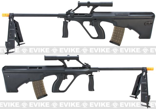 z Evike.com Custom AUG Alpha-H Sniper Airsoft AEG Rifle w/ Integrated Scope & Bipod - Black