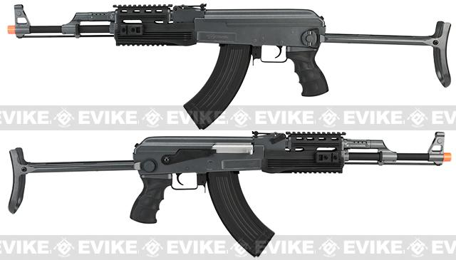 Full Size AK47-S RIS Airsoft AEG Rifle w/ Metal Gearbox & Metal Underfold Stock by CYMA - (Package: Add Battery + Charger)