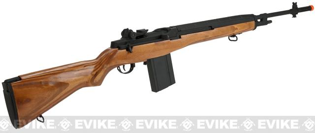 CYMA Full Size M14 Airsoft AEG Rifle - Real Wood (Package: Add Red Dot, Mount, 9.6v Small Type Battery, Smart Charger)