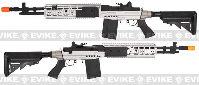 CYMA M14 RIS EBR (Evil Black Rifle) Custom Full Metal Airsoft AEG Sniper Rifle - Dual Tone (Package: Gun Only)
