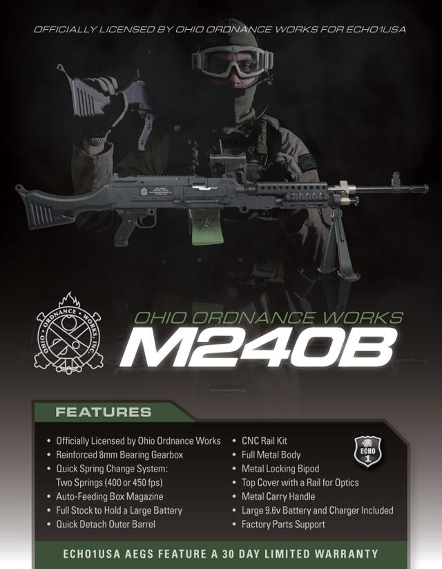 z Echo1 Full Metal M240B Full Size Airsoft AEG Rifle