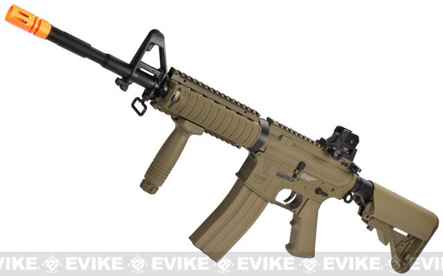 G&G Top Tech GR16 R4 Commando Full Metal Blowback Airsoft AEG Rifle - Tan (Package: Add 9.6 Butterfly Battery + Smart Charger)