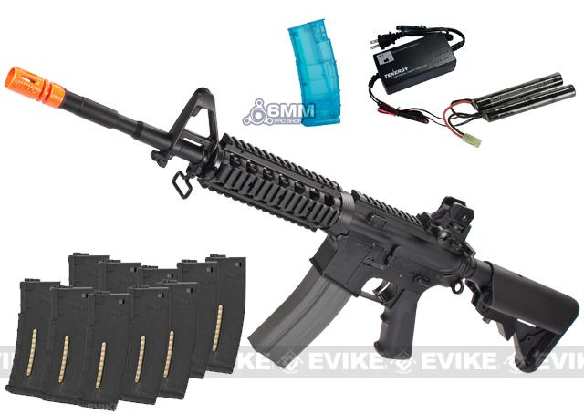 Black November Package - G&G Top Tech GR16 R4 Full Metal Airsoft AEG EBB + Smart Charger / Battery / Loader / Ten Magazines