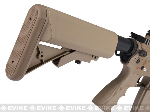 G&G Top Tech Full Metal Blowback T4-18 SBR Airsoft AEG Rifle - Tan (Package: Add 9.6 Butterfly Battery + Smart Charger)