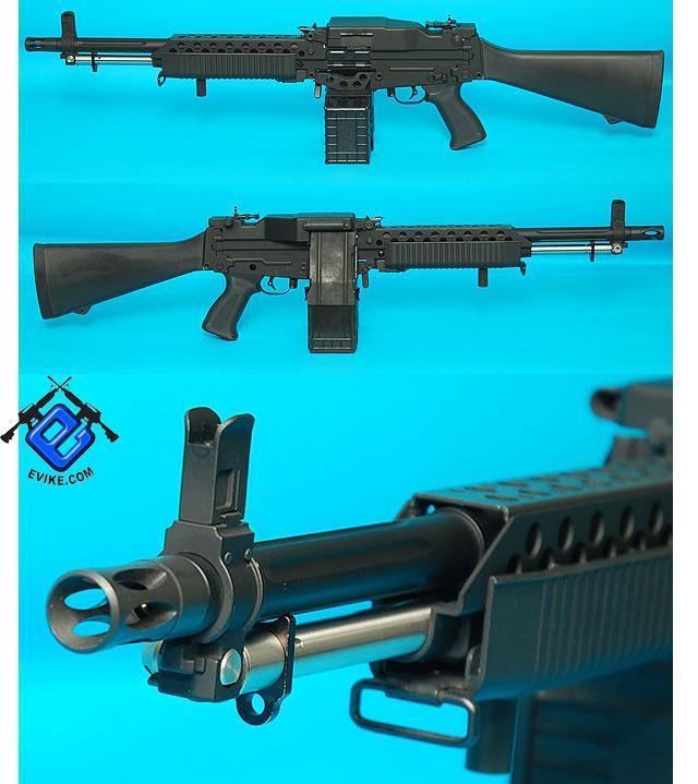 G&P Navy Mk23 Airsoft SAW Machine Gun AEG w/ Box Magazine (Package: Add Battery + Charger)