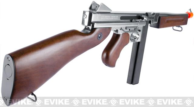 King Arms Thompson M1A1 Military Grand Special Edition Airsoft AEG Rifle - Nickle Plated Chrome