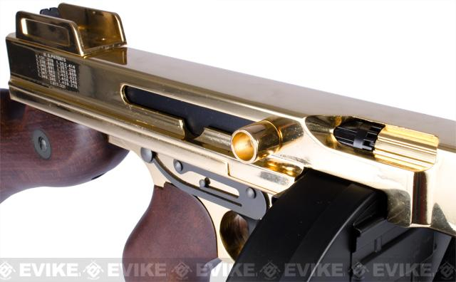 King Arms Thompson M1928 Chicago Typewriter Airsoft AEG Rifle - Gold Plated Limited Edition