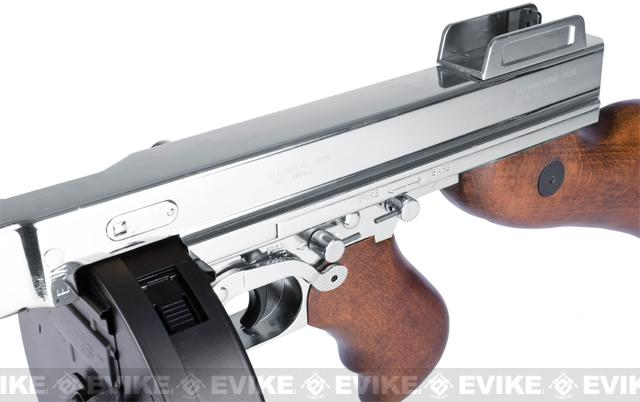 King Arms Thompson M1928 Chicago Typewriter Airsoft AEG Rifle - Nickle Plated Chrome Limited Edition