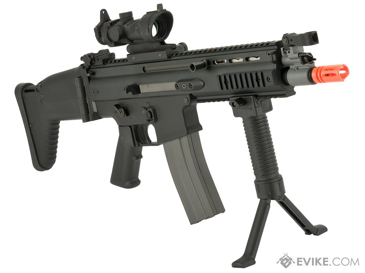 FN Herstal Licensed Full Metal SCAR CQB Airsoft AEG Rifle by G&G - Black (Package: Add 7.4v LiPo Battery + BMS Charger + LiPo Safe)