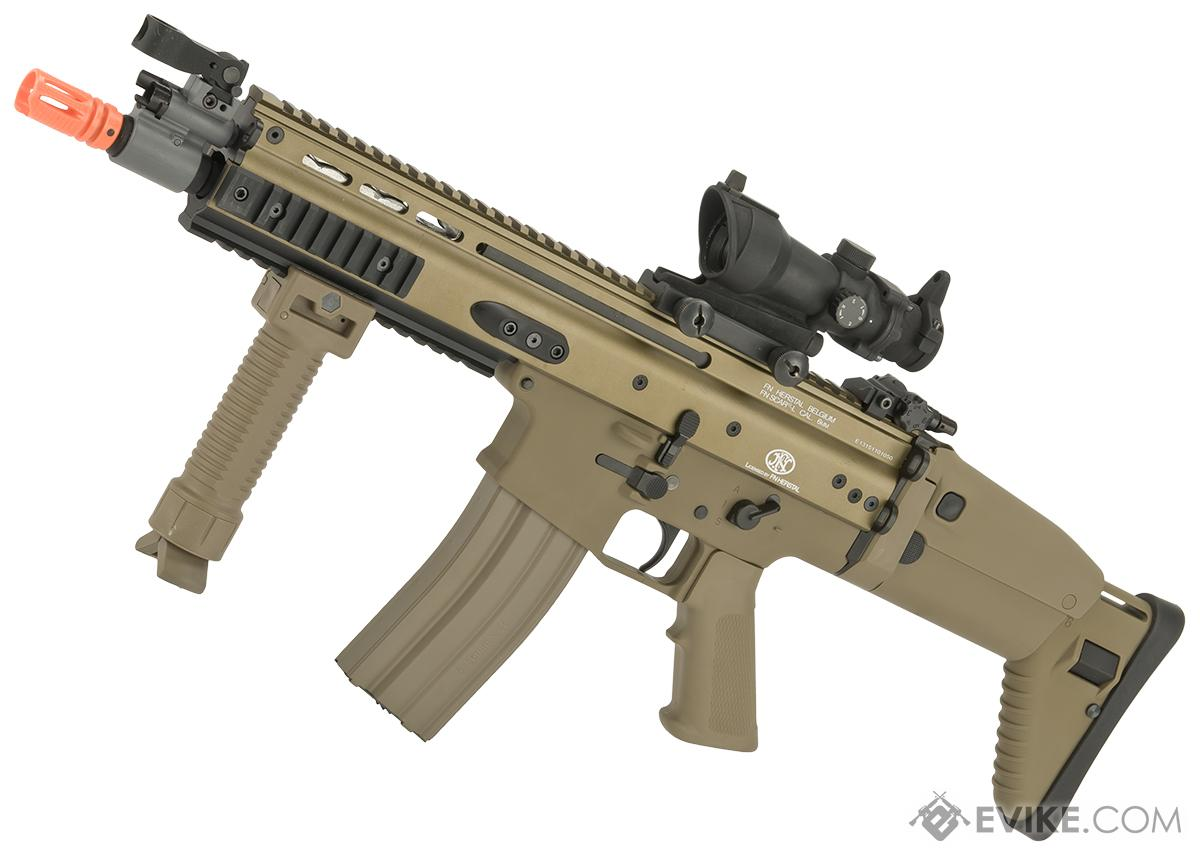 FN Herstal Licensed Full Metal SCAR CQB Airsoft AEG Rifle by G&G - Tan (Package: Add 7.4v LiPo Battery + BMS Charger + LiPo Safe)
