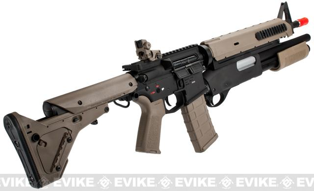 z G&P PTS Magpul Battle Rifle Airsoft AEG w/ Masterkey Shotgun - Dark Earth