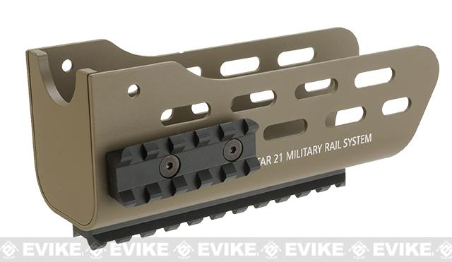 Angry Gun CNC Metal Military Rail System and Handguard for Tavor 21 Airsoft AEG Rifles - Dark Earth