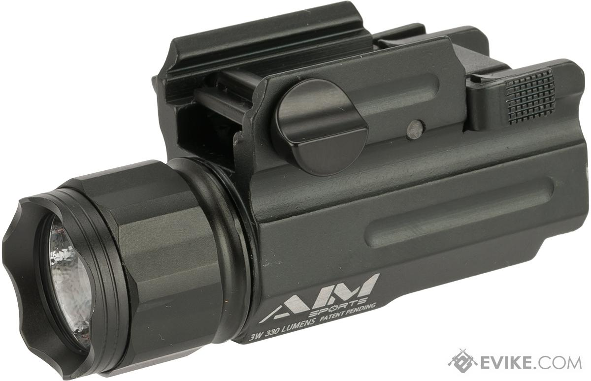 AIM Sports Pistol & Rifle Quick Release 3 Watt / 330 Lumens Combat Flashlight w/ Filter Set