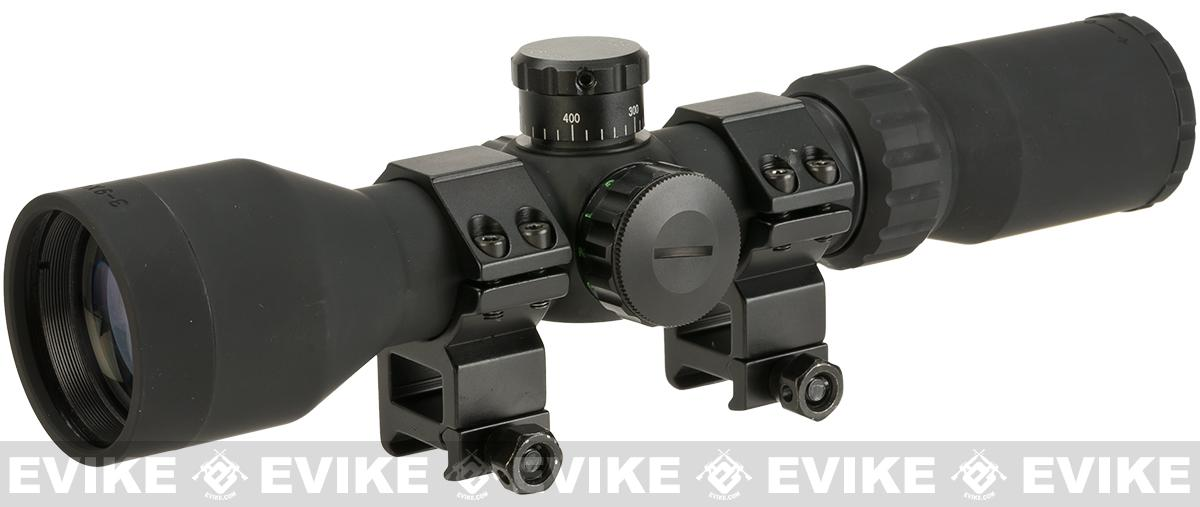 AIM Sports Illuminated Compact Rubberized 3-9x42mm Scope with Rangefinder Reticle