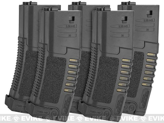 Pre-Order ETA January 2017 ARES Amoeba 140rd High Grade Mid-Cap Magazine for M4/M16 Series Airsoft AEG Rifles - Set of 5 / Black