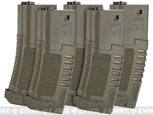 ARES Amoeba 140rd High Grade Mid-Cap Magazine for M4/M16 Series Airsoft AEG Rifles - Set of 5 / Dark Earth