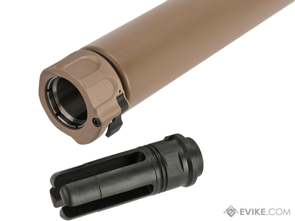 Angry Gun 8.5 SOCOM 762 Mock Suppressor with Flash Hider for Airsoft Rifles - Flat Dark Earth (14mm Negative)
