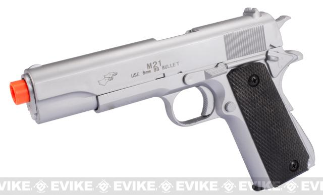 DE Full Size 1911 Government High Power Airsoft Spring Pistol - Silver