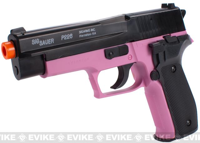 Sig Sauer Licensed P226 Spring Powered Airsoft Pistol - (Black / Pink)