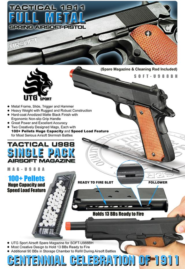 Airsoft Tactical 1911 Full Metal Spring Pistol w/ 2 Mags by UTG