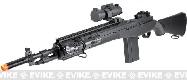 Double Eagle M14 SOCOM Airsoft Spring Powered Rifle with Red Dot, Flashlight, Laser