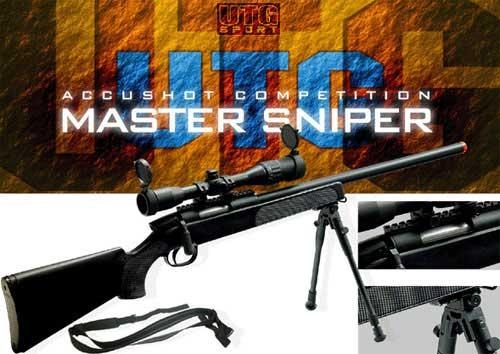 Gen 5 UTG APS2 Airsoft Master Sniper Rifle w/ Bipod - Black (Package: Rifle & Bipod Only)