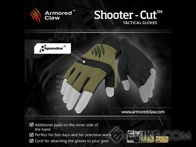 Armored Claw Shooters Cut Tactical Glove - OD Green (Size: Large)