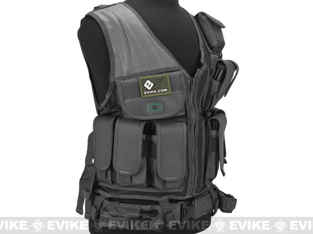 z GxG Tactical Airsoft Vest w/ Tactical Belt & Holster - Black