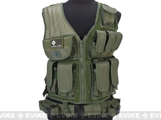z GxG Tactical Airsoft Vest w/ Tactical Belt & Holster - OD Green