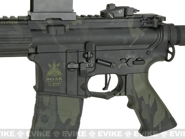 APS ASR-117 Boar Tactical Silver Edge 17 KeyMod Airsoft AEG - Black Multicam