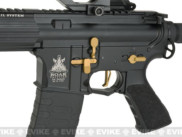 APS ASR-118 Boar Tactical Custom Silver Edge 17 KeyMod Airsoft AEG - Black