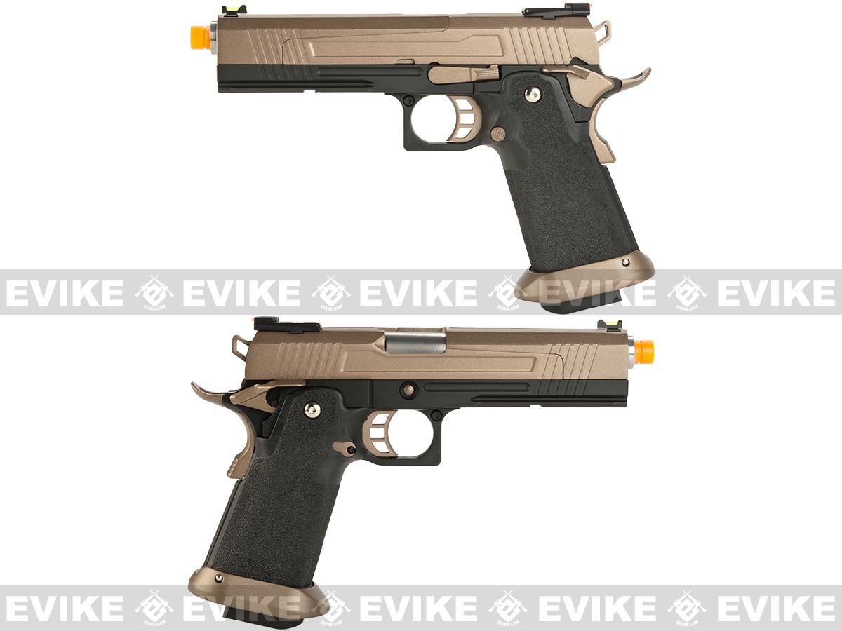 AW Custom Split Frame Hi-Capa Competition Grade Gas Blowback Airsoft Pistol - Flat Dark Earth Slide