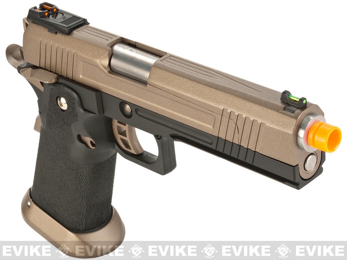 AW Custom Split Frame Hi-Capa Competition Grade Gas Blowback Airsoft Pistol - Flat Dark Earth Slide
