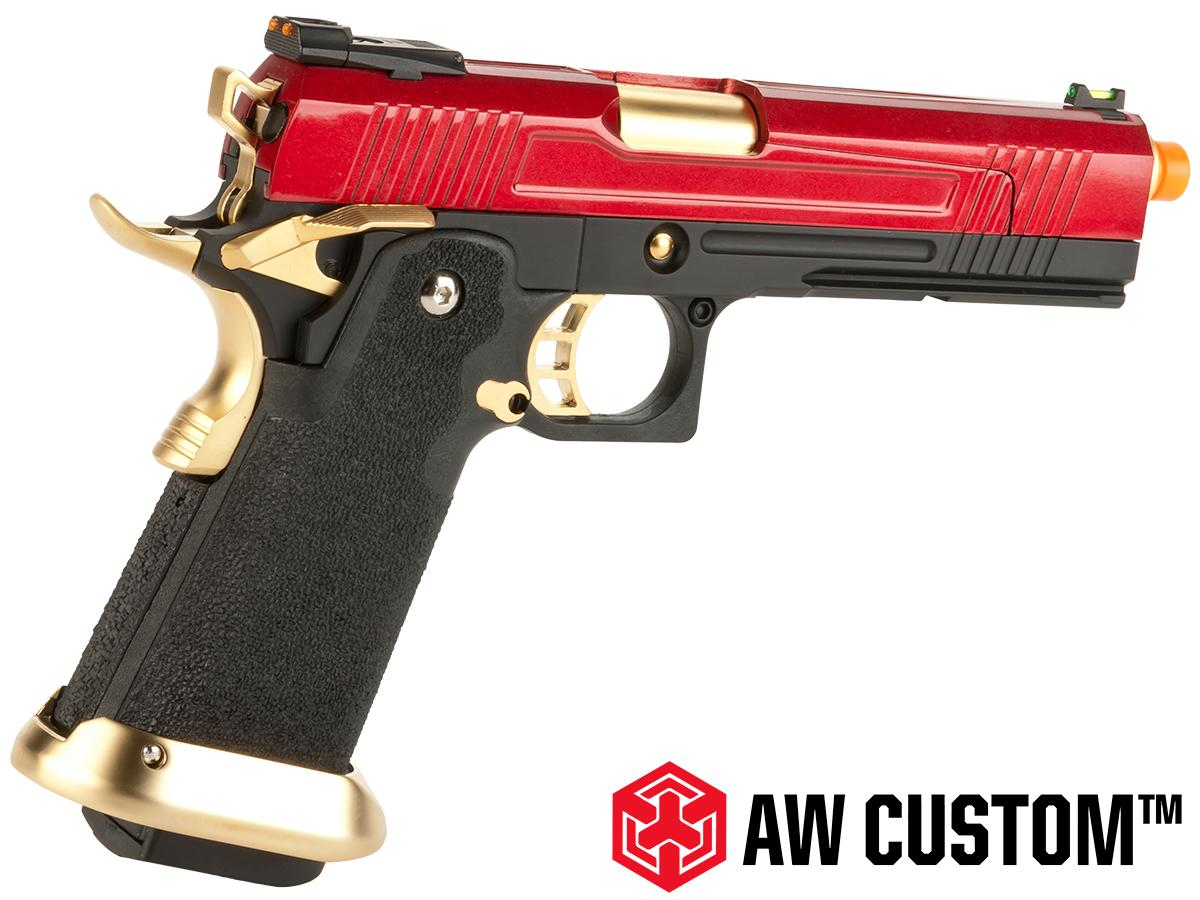 AW  Custom Split Frame Hi-Capa Competition Grade Gas Blowback Airsoft Pistol - Gold/Red