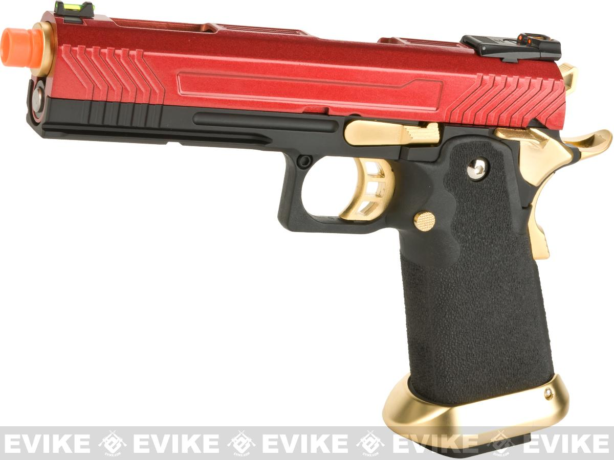 AW Custom Hi-Capa Competition Grade Gas Blowback Airsoft Pistol - Red/Gold
