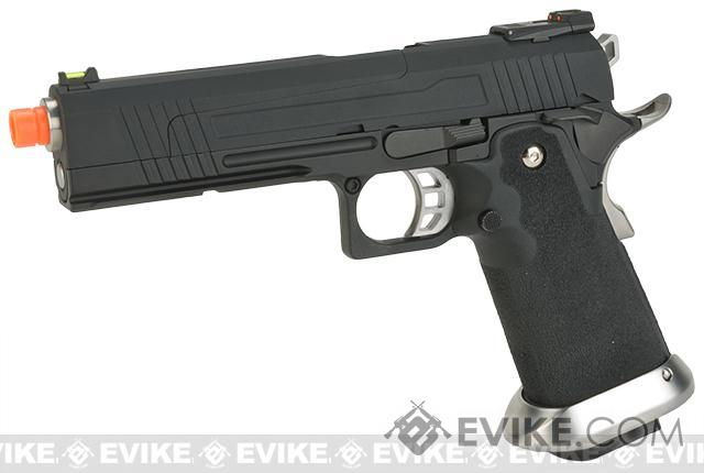 AW Custom Split Frame Hi-Capa Competition Grade Gas Blowback Airsoft Pistol - Black