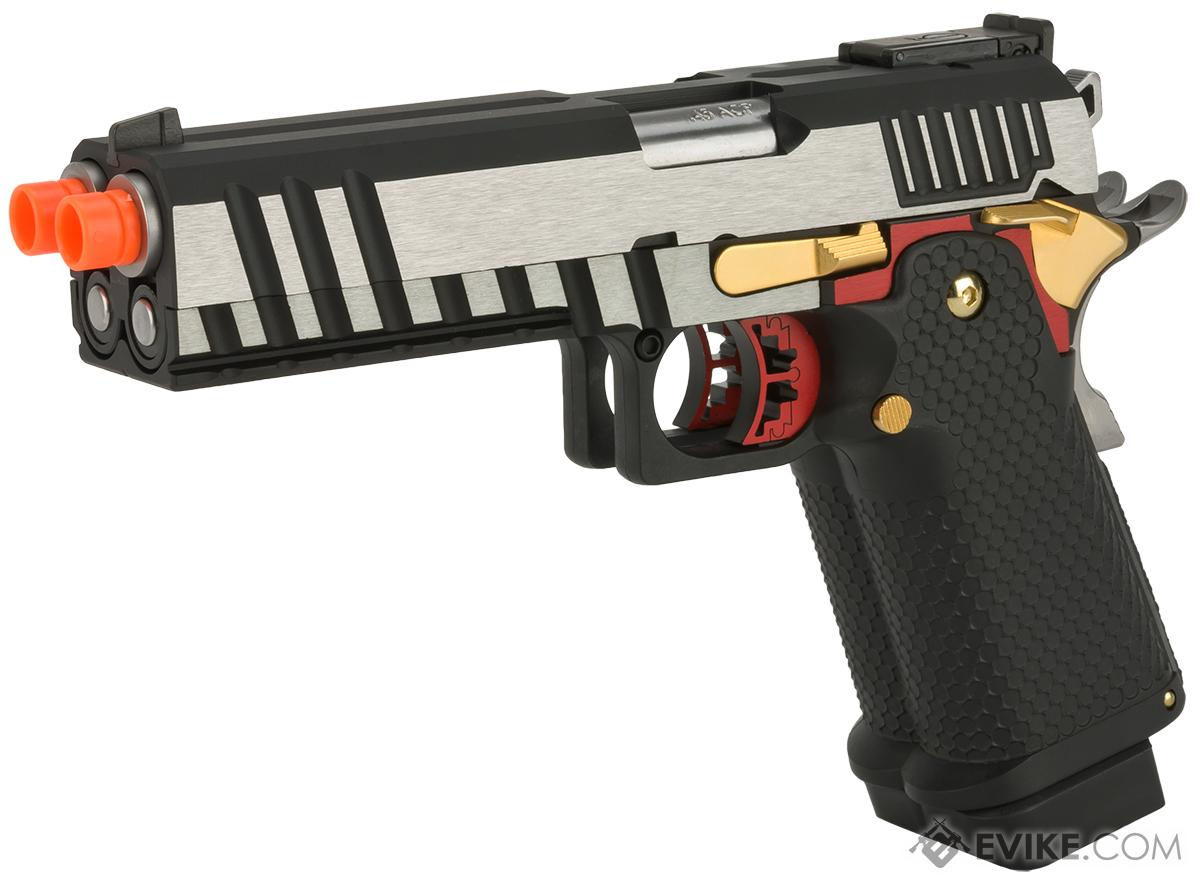 (AIRSOFTCON EPIC DEAL) AW Custom AX-HX2101 Double Barrel Hi-Capa Gas Blowback Airsoft Pistol - Two Tone