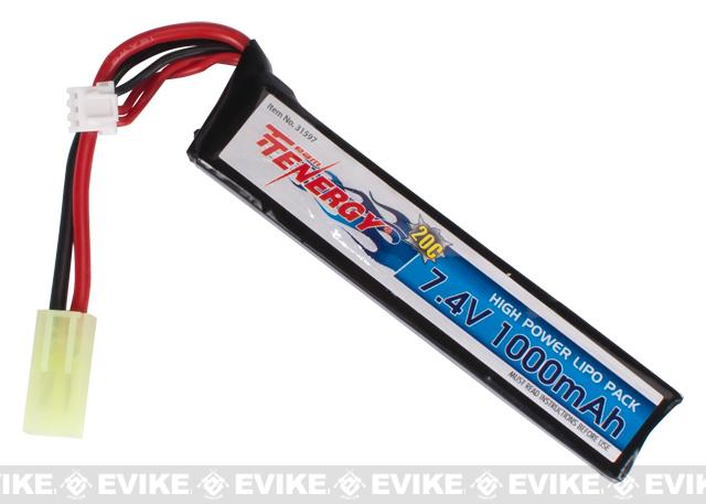 Tenergy 7.4v 1000mAh 20C Airsoft Li-po Battery