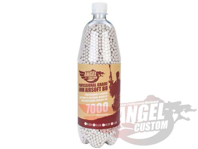 Angel Custom 0.23g Professional Grade 6mm Airsoft BBs - 7000 Rounds / White