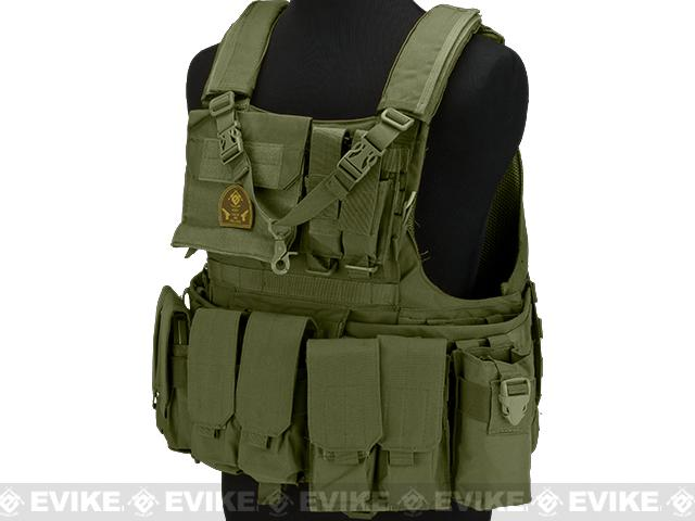 Matrix Assault Plate Carrier Vest w/ Cummerbund & Pouches - OD Green