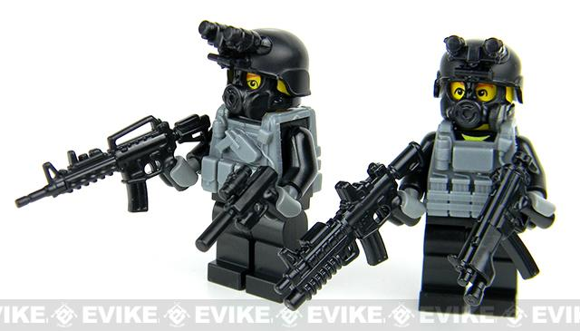 Battle Brick Customs Military Mini-Figure - Black OPS Commandos Soldiers
