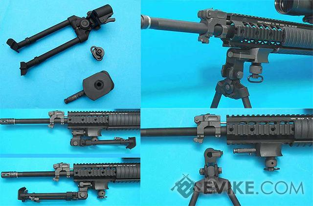 AGM Samurai V-Grooved Multi Purpose Steel Bipod for Airsoft Sniper Rifles